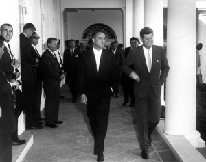 August 28th 1961; President John F. Kennedy and Peace Corps Director Sargent Shriver meeting with Peace Corps Volunteers